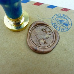 Wholesale Deer Stamp - Wholesale- WS146 Deer Wax Seal Stamp Gold Plated stamp seal  wooden animal scrapbooking stationery