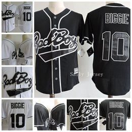 Wholesale Cheap Jersey Good - Cheap 10 Biggie Smalls The Notorious B.I.G. Movie Bad Boy Stitched Baseball Film Buttons Jerseys Shirt Good Quanlity Black White