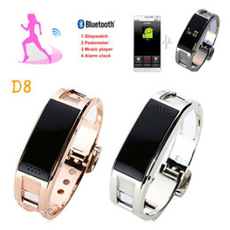 Wholesale Iphone Bluetooth Sync - Smart Wristbands New Fashion metal D8 Smart bracelet gold sliver Sync Wrist LED Digital Bluetooth answer phone For Iphone 7 plus Samsung S7