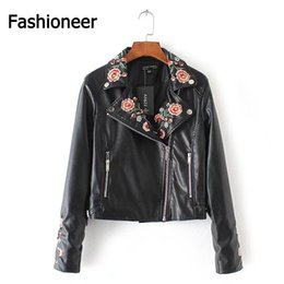Wholesale Short Jackets For Women - Fashioneer Jackets For Women PU Leather Harajuku Rock Embroidered Floral Rivet Black Bomber Short Jacket For Woman Lady S-L Size