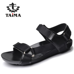 Wholesale New Men Fashion Shoes Sandals - Wholesale-2016 Summer Fashion New Style Men Genuine Leather Sandals Comfortable Breathable Casual Sandals Shoes For Men Brand TAIMA 40-45