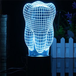 Wholesale Tooth Decor - Wholesale- 0.5W 3D Tooth LED RGB Touch Switch 7 Color Charging Night Light Desk Table Lamp Bedside Decor Light Christmas Gifts 5V