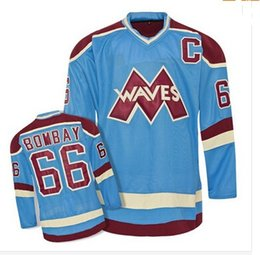 Wholesale Ice Wave - throwback ice hockey jersey#66 Gordon Bombay VERY RARE NO RESERVE Gordon Bombay Gunner Stahl Mighty Ducks Waves Hockey Jersey Any Name