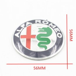 Wholesale Alfa Romeo Logo Sticker - 4Pcs Car Styling ALFA ROMEO logo Sticker 56MM 60MM 65MM Auto Rim Decorate Emblem Badge Aluminum Stickdrs For ALFA 147 156 166