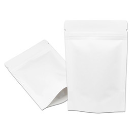 Wholesale Kraft Paper Zipper Top Bags - 200 Pcs lot White Kraft Paper Stand Up Ziplock Packing Bag For Candy Tea Coffee Doypack Storage Zipper Top Pouch Bag
