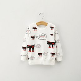 Wholesale Long Sleeve Cat Blouses - Wholesale- Fashion Baby Kids Girl Long Sleeve Blouse Cartoon Cat Pattern Sweatshirts 2-7Years