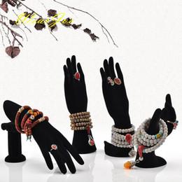 Wholesale Wholesale Hand Mannequins - 4Pcs lot Black Velvet Jewelry Display Stand Holder Set Mannequin Hand Finger Model Ring Earring Bracelet Necklace Carrying Rack