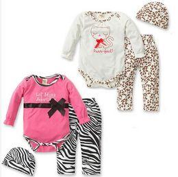 Wholesale Leopard Baby Hats - Wholesale- 2017 Autumn New fashion baby girls clothes set leopard romper+pants+hat 3 pcs newborn baby clothing set