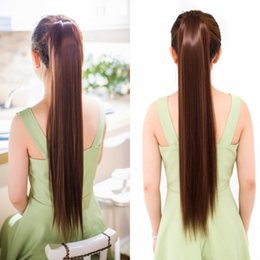 Wholesale Girls Hair Extension Clips - Sara Ladies & Girls Drawstring Staight Ponytail Hair Extension Clip in Ponytail Pony Tail Hairpiece Straight Horsetail Synthetic Hairpiece