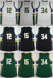 Wholesale Greg Blue - Cheap 34 Giannis Antetokounmpo Jerseys Men 12 Jabari Parker 15 Greg Monroe Jersey Black Green White Embroidery With Name Size 44-56