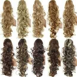"""Wholesale Curly Pony Tail Hair Extensions - Wholesale-20"""" Long Claw Drawstring Ponytail Fake Hair Extensions False Hair Pony Tails Horse Tail Tress Curly Synthetic Hairpieces Pieces"""