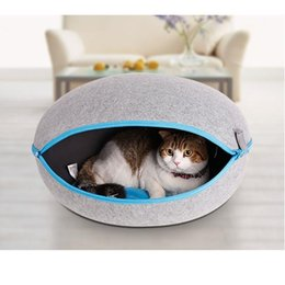 Wholesale Cat Houses Oval - Pet Dog Cat Bed House Heated Cat Bedding Cute Handmade Cat Cave Kennel Beds 3 colors
