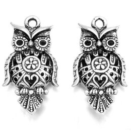 Wholesale 14k Owl - Wholesale- New Antique Silver Hollow Owl Charms 45pcs lot Zinc Alloy Animal Pendant For Jewelry Making Findings 26*14*6mm 145984