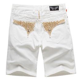 Nuevo Mens Robin Beads Shorts rojos Jean diseñador Denim Cowboy Short Pant con Crystal Studs Flap bolsillos Cover Wing Clip Size 32-42 desde fabricantes