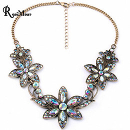 Wholesale Vintage Black Jewelry - RAVIMOUR Fashion Vintage Statement Women Necklace New Crystal Bauhinia Flower Necklaces & Pendants Maxi Choker Collares Jewelry