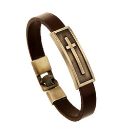 Wholesale Religion Free - Free Shipping Fashion New Mens Vintage Leather Bracelet Wristband Cross Religion Bracelets & Bangles Men Jewelry Gift