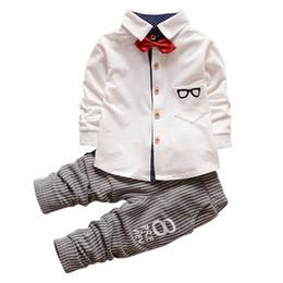 Wholesale Kids Shirts Glasses - Wholesale- 0-4 Years Baby Boys Girls 2 Pieces Kids Children Glasses Bow Tie T-shirts + Pants Clothing Cotton Suit Sets