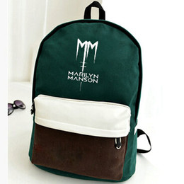 Wholesale Super Star Metal Women - Marilyn Manson backpack Metal music player daypack Super star schoolbag Pop rucksack Sport school bag Outdoor day pack