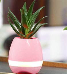 Wholesale Outdoor Potted Flowers - Music Flower Pot Night Light Smart Touch Planters & Pots Lamp Rechargeable Wireless Bluetooth Planter Best Gift For Family Frends Kids