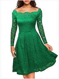 Wholesale Cheap Beautiful Long Sleeve Dress - The most beautiful prom cheap thrifted Lace Dresses Long Sleeve Floral Boat Neck Swing Dress Robes Femme Vestido de Renda LC61427