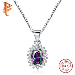 Wholesale Tiny Love Heart Pendant - BELAWANG 925 Sterling Silver Multicolor Rhinestones Necklaces for Women Mystic Purple Crystal Stone Pendant Necklace Pave Tiny White CZ