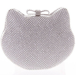 Wholesale Blue Satin Evening Bag - Wholesale-Gold Silver Full Side Diamond Clutch Evening Bag Lovely Bowknot Hasp Crystal Hello Kitty Shape Clutch Bag Shoulder bag