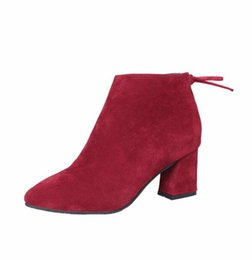 Wholesale Red Suede Platform Heels - Women Suede Leather Platform Shoes Zip Ankle Knight Boots Chunky Heel Pumps Sexy Vintage Platform High Heels Shoes