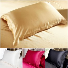 Wholesale Black Silk Pillows - Wholesale- China Double Face Envelope bedding Pillow Case Silk Pillowcase Camel White Black Silk Satin Pillow Case Multiple Colors 48*74