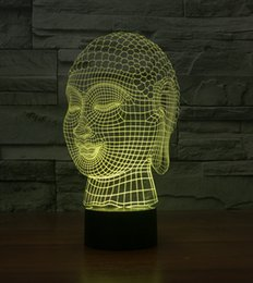 Wholesale Buddha Led Light - Wholesale- Novelty Buddha Head 3D Illusion LED Night light 7 Light Colors Table Lamp For Party Children Bedroom Lamp Baby Toy Gift