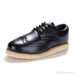Wholesale Casual Shoes For Dresses Blue - Free shipping Vintage Navy 37-47 Men's Leather Flats Business Dress Oxfords Shoes Platform Casual Italy Brand Creepers For Men Mocassin