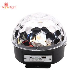 Wholesale Magic Crystal Ball Led Remote - Wholesale- Voice Cotrol Stage Light MP3 IR Remote Digital RGB LED Crystal Magic Ball DI Party Disco Stage Lights Sound Active luces discote