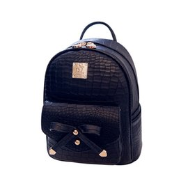 f4cead3d69b4 Wholesale- 2016 Women s Leather Backpack Crocodile bow shape mini backpack  women back pack backpacks for teenage girls New Style