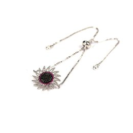 Wholesale Flower Handicraft - Hot Jewelry Vintage Zircon Sun Flower Bracelets For Men Women Handicraft Copper Micro Pave charm Bracelets Bangles Diy Gift
