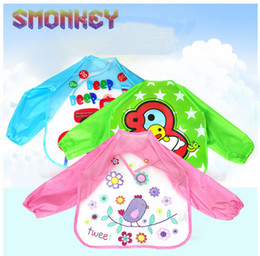 Wholesale Children Art Smock - Wholesale- 1 Pcs Cute Baby Bibs Toddler Waterproof Long Sleeve Bib Boy Art Apron Animal Smock Bib Burp Cloths Children Feeding Eating Smock