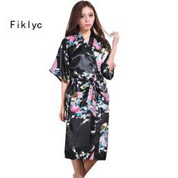 Wholesale Wholesale Robes For Women - Wholesale- brand new long robe satin rayon bathrobe for women kimono sleepwear peacock plus size S-XXL nightwear bridesmaid bathrobes hot