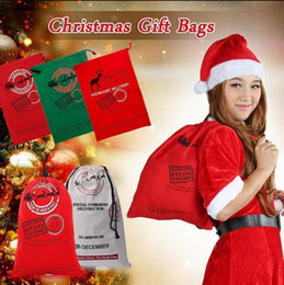 Wholesale Christmas Halloween Drawstring Canvas Santa Sack cm Environmental Reindeers Gifts Bags Elk Handbags Canvas Bags OOA2257