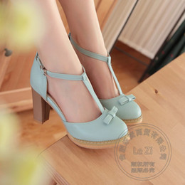 Wholesale Mori Wedding - T Strap Bow Japanese Style Round Toe Mori Girl Pu Strappy Shoes Various Preppy Style Lolita Shoes Purple High Heels Size 10