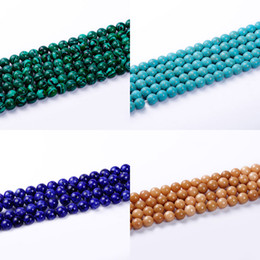 Wholesale Green Malachite Gem - 1pack lot 10mm High quality gem semi precious malachite Turquoise Gravel Natural Stone Loose Beads For Jewelry Diy making