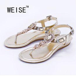 Wholesale Adhesive Back Rhinestones - Wholesale-WEISE Large Size 2016 Latest Fashion Sandals Summer Simple Rhinestone Shoes Shoes For Women Flats Flip Flops Wedges Sandal