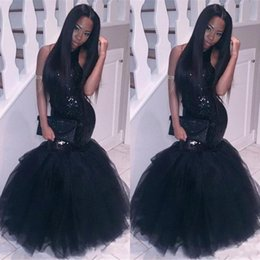 Wholesale Cheap Corset Mermaid Prom Dresses - Sparkly Black Girls Mermaid African Prom Dresses 2017 Halter Neck Sequins Tulle Sexy Corset Formal Dress Cheap Party Pageant Gowns