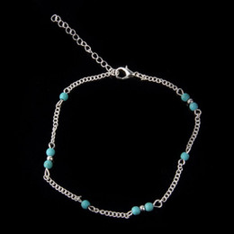 Wholesale Wholesale Sports Souvenir Gifts - Hot Selling 605Pcs Unique Howlite Bead Chain Anklet Souvenir Ankle Bracelet Foot Jewelry For Women Gril Gift Free Shipping