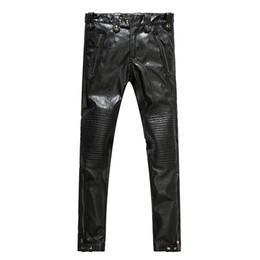 Wholesale City Motorcycles - Wholesale- Men's leather pants men's motorcycle leather pants fashionable city 2017 new style men's fashion PU pants men
