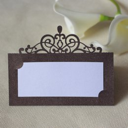 Wholesale Wedding Place Card Folded - Wedding centerpieces table card laser cut crown design name card holders palce card customized free shipping