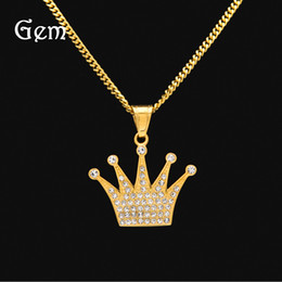 Wholesale Hip Hop Crown Pendants - Brand Rhinestones Hip Hop Gift Lions Angel Wing Crown Pendant Gold-plated Stainless Steel Chains For Men Pop Party Accessories