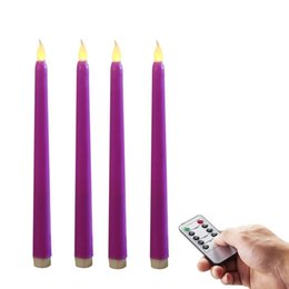 Wholesale Led Candle Favor - Wedding Favor Taper Candles, Vigil Flameless Purple LED Wax Taper Candles w Remote, Flickering, Remote Control