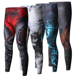 Wholesale Lycra Leggings Men - ZRCE New High Quality Men Skinny Pants 3D Pattern Superman Iron Man Flash Bodybuilding Jogger Fitness Skinny Leggings Trousers