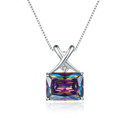 Wholesale Mystic Fire Topaz Jewelry - Fashion Jewelry Fire Mystic Topaz 925 Sterling Silver Pendant Necklace Rainbow Magic green Zircon Rectangle Shaped For party Gift On Stock