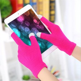 Wholesale Iphone Color Options - Winter gloves Fastest Delivery - Women Men Unisex Winter Warm Knitted Gloves Touchable Screen for Iphone Smartphone Glove 10 color options
