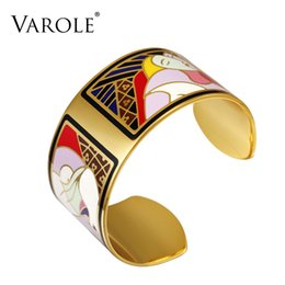 Wholesale Colorful Enamel Bangles For Women - VAROLE Fashion Enamel Opening Bracelets&Bangles for Women Colorful Gold-color Bracelet Cuff Prom Love Pulseiras Feminina Gifts