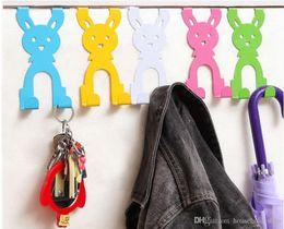 perchas de plástico giratorias Rebajas Rabbit Hook Door Hanger Door Hangers para ropa de dibujos animados Creative Home Organizer Animal shape Hooks para bolsos Hat Rack